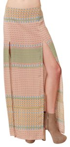 Blu Moon Planet Blue Bohemian Maxi Skirt Multicolor