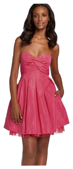 Preload https://img-static.tradesy.com/item/16640275/bcbgmaxazria-coral-pink-sateen-pleated-strapless-tulle-taffeta-mini-formal-dress-size-12-l-0-1-650-650.jpg