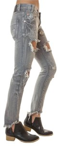 One Teaspoon Distressed Destroyed Grey Wash Straight Leg Jeans-Distressed