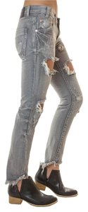One Teaspoon Distressed Destroyed Wash Straight Leg Jeans-Distressed