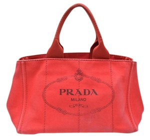 Prada Canvas Canapa Satchel Tote in Red