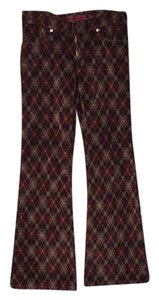 Fever Jeans Flare Pants Sweet rust and brown argyle