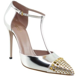 Gucci 353723 Studded Leather Silver Pumps