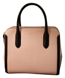 Kate Spade Light Pink/black Leather Rose Satchel in Soft Rose/Black
