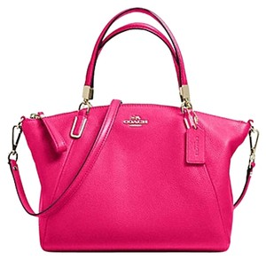 Coach Slouchy Pebbled Leather Satchel in pink