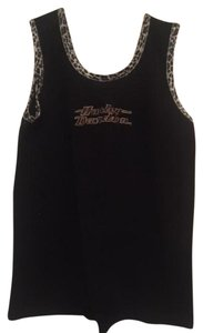 Harley Davidson Tank Top black with leopard trim