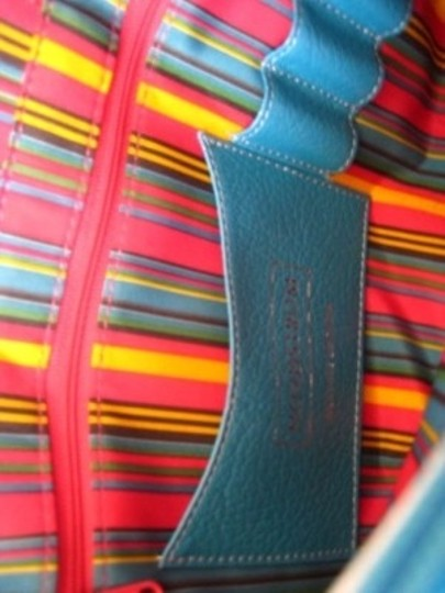 Nordstrom Leather Excellent Condition Shopper Colorful Stripe Lining Tote in ocean blue