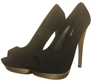 Steve Madden Peep Toe Peep Toe Ultra High Black Suede and Gold Heel Pumps