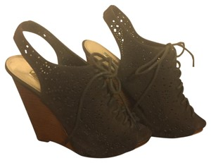 Wild Pair Suede Lace Up Brown Wedges