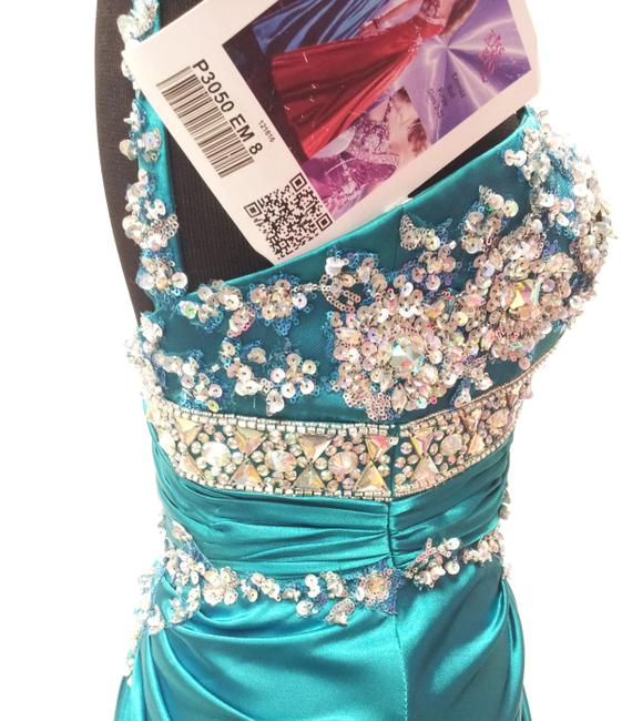 Mary's Bridal Prom Kiss Kiss Formal Pageant Emerald Sequin Beaded Dress