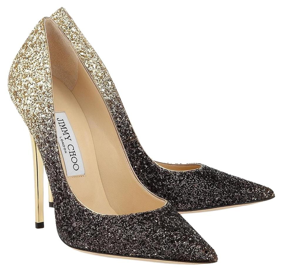7ff0adcee8ca Jimmy Choo Black and Gold Gradient Anouk Nude Coarse Degrade Glitter Pointy  Pumps