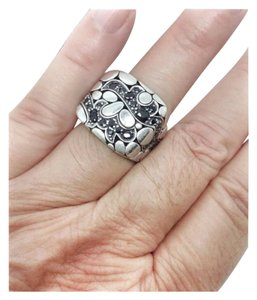 John Hardy size 9 - 9.5, .sterling silver, black sapphire, unisex, ring band