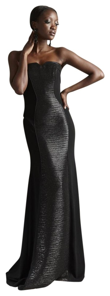 Theia Black Hourglass Illusions Strapless Evening Gown Long Formal ...