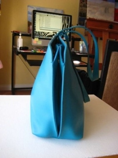 Furla Large Tote Leather Holds Ipad Sleek Roomy Satchel in Tiffany Blue