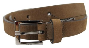 Gucci New Brown Suede Belt with Square Metal Buckle 85/34 334503 2814