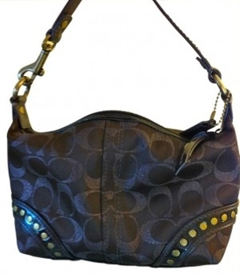 Coach Handbag Stud Accent Small Perfect Condition Studded Jacquard Leather Hobo Bag