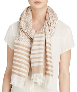 Tory Burch Tory Burch Logo T Neutral Striped T Scarf Cover Up Wrap