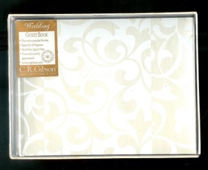 Taupe and White New~c.r. Gibson ~ Fine~gifts ~ Rose Scroll~wedding ~ ~ ~ Guest~book