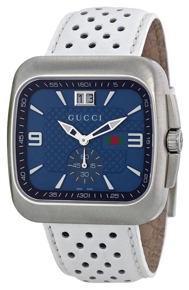 8f641949ff1 Gucci GUCCI G Coupe Quartz Blue Dial Leather Strap Men s Watch YA131304  Image 0 ...