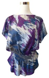 Calvin Klein Dolman Batwing Abstract Artsy Top Purple