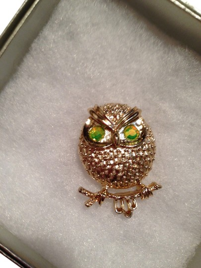 Preload https://item1.tradesy.com/images/gold-tone-with-green-eyes-owl-brooch-bright-crystal-1664610-0-0.jpg?width=440&height=440