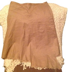 BCBGMAXAZRIA Knee Length Hi Lo Fringe Linen Skirt Tan