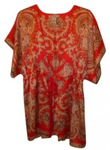 CAbi Silk Top Red paisley print
