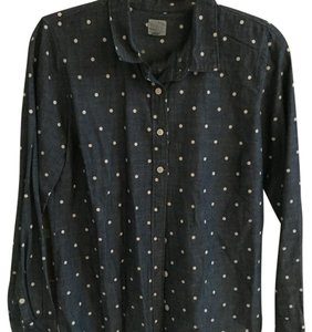 J.Crew Button Down Shirt Denim with white dots