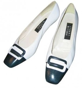 Stuart Weitzman Updated Spectator Style All Leather Navy and White Pumps