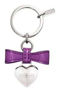 Coach (2) Piece SET Collector's Heart Coin Purse & Heart Set Patent Leather Bow Heart Key Ring/Fob +