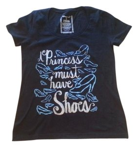 Disney Walt Princess Graphic Black Graphic Casual T Shirt Dark blue