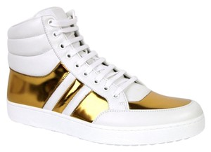 87c594e7b95 Gucci 368494 High-top Sneakers Leather white gold 9068 Athletic