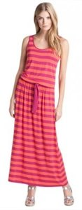Orange and Deep Pink/Red Maxi Dress by Michael Kors New Maxi Stripe Summer Silhouette Drop