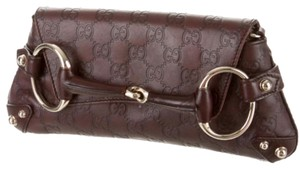Gucci Hoesebit Leather Brown Clutch