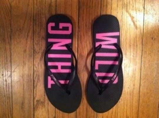 Victoria's Secret New Flip Flops Wild Thing Pink and Black Sandals