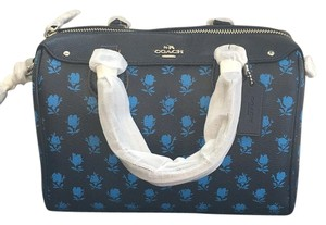 Coach Floral Leather Satchel in black/blue