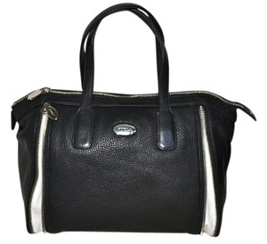 Furla Handbag Leather And Amazzone Satchel in Black with White Accents, silver hardware