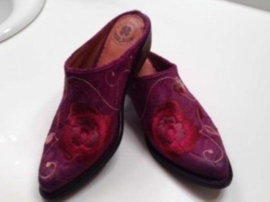 Lucky Brand Flower Suede Purple Mules