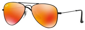 Ray-Ban NEW! Kids RJ9506S Aviator Sunglasses, Matte Black/Red Flash