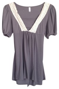 Xhilaration Vintage Lace Crochet Bow Peasant Top Grey / Gray