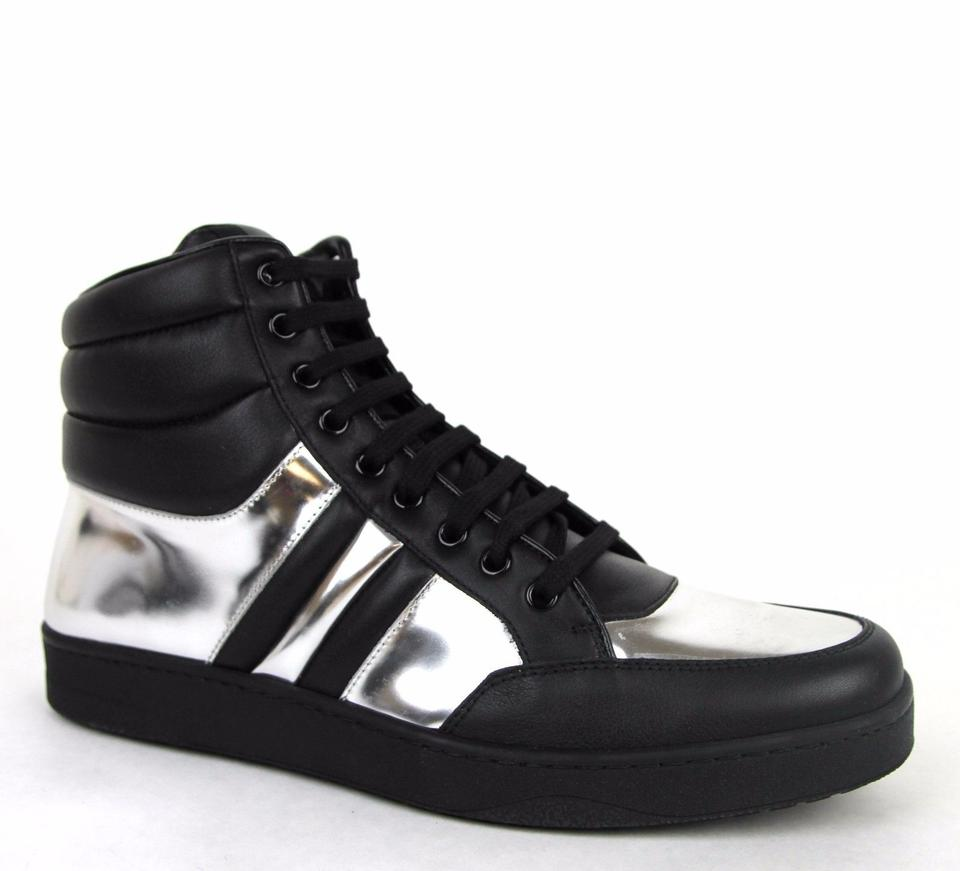 5efbbb00bbd Gucci Black Silver 1086 Mens Contrast Padded Leather High-top Sneaker  368494 7g  ...