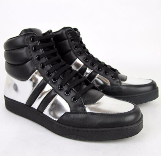 Gucci Black/Silver 1086 Mens Contrast Padded Leather High-top Sneaker 368494 7g/Us 7.5 Shoes