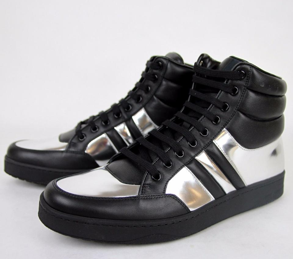 c8ae8575912 Gucci Black Silver 1086 Mens Contrast Padded Leather High-top Sneaker  368494 7g . 12345678910