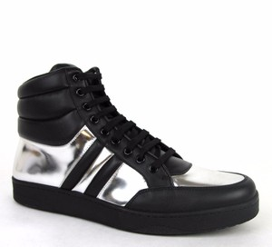 Gucci Black/Silver 1086 Mens Contrast Padded Leather High-top Sneaker 368494 8g /Us 8.5 Shoes