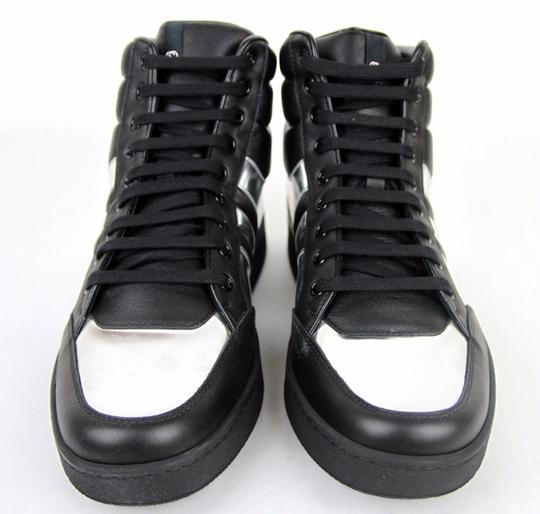 6146e982eb9 Gucci Black Silver 1086 Mens Contrast Padded Leather High-top Sneaker  368494 10.5g