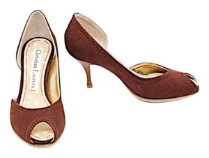 Christian Lacroix Canvas Peekaboo Open Toe Brown Pumps
