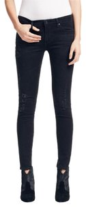 AG Adriano Goldschmied The Legging Ankle Destroyed Skinny Black Aged Medium Rise Skinny Jeans-Distressed