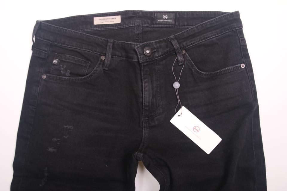 ff5b5d28a0ead AG Adriano Goldschmied The Legging Ankle Destroyed Black Aged Medium Rise Skinny  Jeans-Distressed Image. 123456789101112