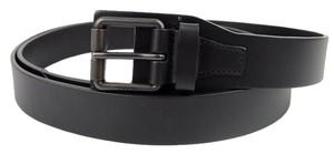 Gucci New GUCCI Mens Black Leather Belt with Square Metal Buckle 120/48 353474 1000