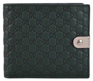 Gucci New Gucci Men's 365477 Green Micro GG Guccissima Leather Bifold Wallet